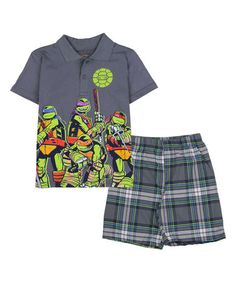 Look what I found on #zulily! Charcoal TMNT Polo & Plaid Shorts - Boys #zulilyfinds