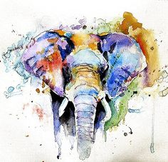 I am usually very traditional but I love water color. Watercolor Elephant