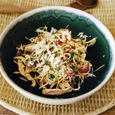 Spicy Cabbage and Chicken Salad (from Saveur). 15 minutes of stove time--none if you get a store-cooked rotisserie chicken. Great as a summer roll filling, make-shift banh mi, or over soba for a Pan-Asian take.