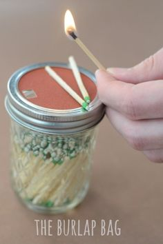 store matches in mason jar, add a piece of sand paper in the cap on which to strike the matches…. brilliant!