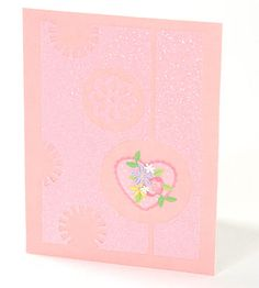 Easy Glittered Card - instead of making this with layered papers, try masking, stamping with glue or embossing media and using glitter, OR same thing with clear or irridescent embossing powder.