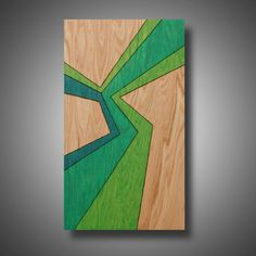 """Into the Wild: Original Abstract Art on Solid Red Oak Panel - Pyrography - Prismacolor Pencil - Green - 11.25"""" x 19.5"""""""