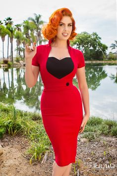 Pinup Couture Veronica Dress in Red - I had this dress in green until I lost weight & it didn't fit any longer :(