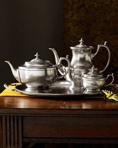 Pewter Tea Set by Valpeltro at Horchow.