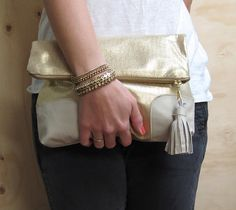 Love it....Gold Leather Fold Over Clutch by smlbags on Etsy, $85.00