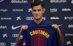 Download wallpapers Philippe Coutinho, FC Barcelona, footballers, FCB, La Liga, Barca, soccer, football club, Barcelona, creative, LaLiga, Barcelona FC
