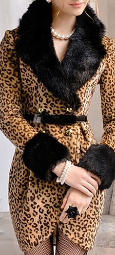 LUXE FAUX FUR COLLAR LEOPARD COAT DRESS – The Style Mob