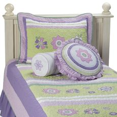 Flower Purple and Green Quilt