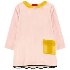 Drop Waist Collar Dress with Color Block Detail
