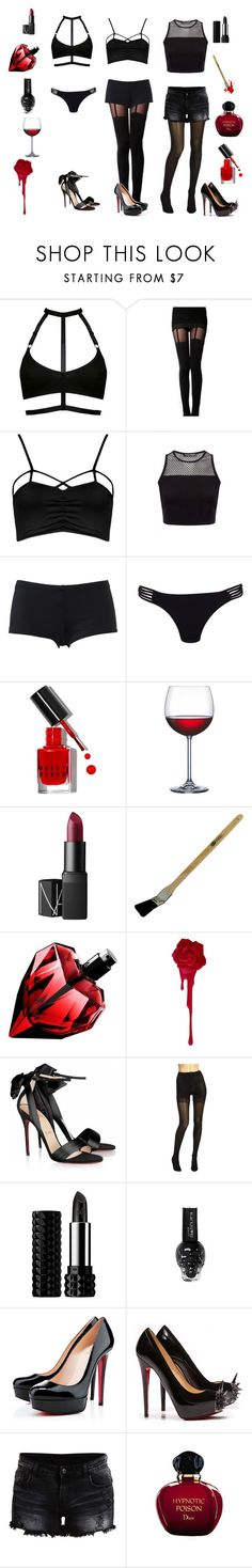 """""""Cell Block Tango-Chicago"""" by conquistadorofsorts ❤ liked on Polyvore featuring Boohoo, Hurley, Lipsy, Bobbi Brown Cosmetics, Home Essentials, NARS Cosmetics, Christian Louboutin, Wolford, Kat Von D and VILA"""