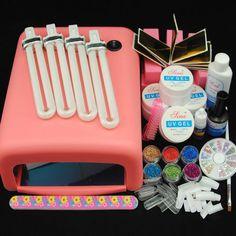 36W UV Gel Pink Lamp Dryer Powder Glitter Nail Art Glue Brush Tips Top Coat Kit #Unbranded