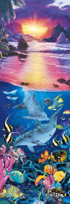 Christian Riese Lassen Crystal Sunset Panoramic Jigsaw Puzzle - 500 pc