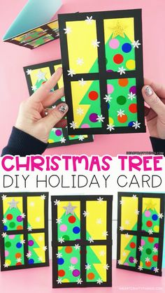 Surprise friends and family with this easy-to-make Christmas tree card. Our free card template makes this an easy Christmas card for kids to make. cards How to Make a Gorgeous Christmas Tree Card Christmas Art Projects, Christmas Arts And Crafts, How To Make Christmas Tree, Christmas Tree Cards, Handmade Christmas, Holiday Crafts, Christmas Card Templates, Christmas Card Ideas With Kids, Christmas Crafts For Kids To Make At School