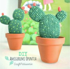 Do you want to have some beautiful cactus which never needs watering and never dies? You can crochet some with Desert Cactus Amigurumi Crochet Patterns. Crochet Gratis, Crochet Diy, Crochet Home, Love Crochet, Crochet Flower Patterns, Crochet Flowers, Crochet Cactus Free Pattern, Crochet Easter, Cactus Flower