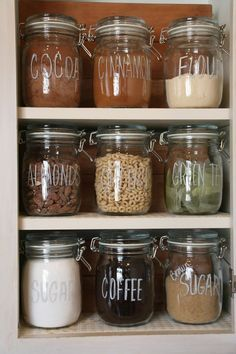 Organizing a pantry with glass jars is cheap and easy.