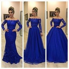 off shoulder royal blue prom Blue Lace Prom Dress, Royal Blue Prom Dresses, Prom Dresses With Sleeves, Grad Dresses, Wedding Party Dresses, Ball Dresses, Evening Dresses, Formal Dresses, Quinceanera Dresses