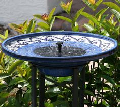 Artistic Solar Bird Bath Accentuates the Colors in Your Yard or Garden