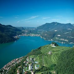 Panoramic View of the Lake of Lugano over Morcote