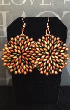 Colors of Autumn Seed Bead Earrings Big Bold Disc by WorkofHeart
