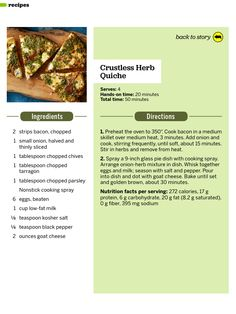 Crustless herb quiche // Fitness mag