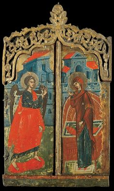 Folded triptych from a Prothesis (offertory table) with a representation of the Annunciation on the front of the outer wings; from a northern Greek worksho. Orthodox Icons, Annunciation, Byzantine Art, Archangel Gabriel, Painting, Art, Wall Painting, Triptych, Sea Art