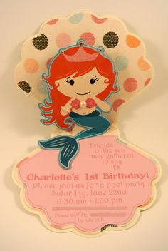 This has to be one of the cutest invites I've ever seen! Mermaid Invitation by DebDenDesigns on Etsy Little Mermaid Birthday, Little Mermaid Parties, Third Birthday, 2nd Birthday Parties, Mermaid Invitations, Under The Sea Party, Partys, Party Themes, Party Ideas