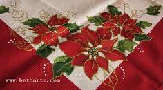 Resultado de imagem para pintura em tecido motivo natalino para toalhas de mesa