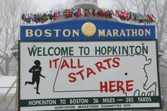 The starting line of the Boston Marathon shown in winter (when runners do the bulk of their training).  Run wicked fast!    http://www.baa.org/