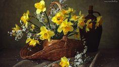 Bukiet, Kwiaty, Żonkile, Koszyk, Kosz