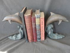 "Vintage Pair of 7 1/2"" Bronze Bookends of Dolphins on Cresting Wave"