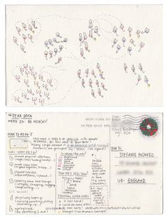 Dear-Data (www.dear-data.com) Week 23- A week of being nicer! Postcard by Giorgia