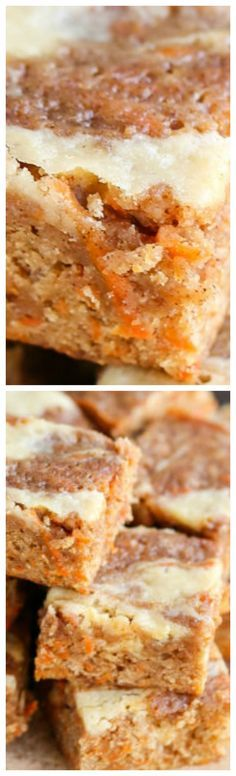 Wonderful Carrot Cake Blondies with Cream Cheese Swirl Recipe The post Carrot Cake Blondies with Cream Cheese Swirl Recipe appeared first on MIkas Recipes . Brownie Desserts, Oreo Dessert, Coconut Dessert, Mini Desserts, Brownie Recipes, Dessert Bars, Just Desserts, Cookie Recipes, Delicious Desserts