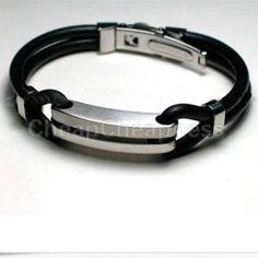Cool Men's Black Stainless Steel Rubber Bracelets Bangles. Main material: rubber,Stainless Steel. Main color:Black. Diameter:6.5cm--2.55in.