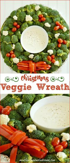 Veggie Christmas Wreath Appetizer Platter