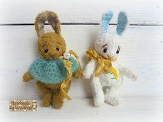 Artist teddy bunny 3.9 inches Author teddy rabbit OOAK teddy vintage Gift for mother Stuffed bunny animal Plush Gift Free shipping worldwide by SovushkaDolls on Etsy https://www.etsy.com/listing/272571976/artist-teddy-bunny-39-inches-author