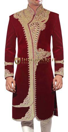 Maroon Wedding Extraordinary Wear Wedding Wear Maroon We. African Clothing For Men, African Men Fashion, Indian Fashion, Wedding Dress Men, Indian Wedding Outfits, Wedding Wear, Wedding Groom, Indian Groom Wear, Indian Wear
