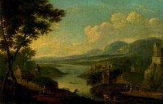 'A River Landscape' - Antoine-François Vernet, oil, 1771