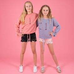 Twinning it in Le Chic supper soft jumpers in pink + grey teamed with our hole'd denim shorts in black + pink. Creative Kids, Summer Kids, Stylish Dresses, Jumpers, Pink Grey, Jeggings, Cool T Shirts, Denim Shorts, Girl Outfits