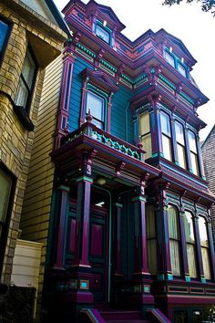 "Victorian ""Painted Ladies"" Row House from the Haight Ashbury neighborhood in San Fransisco. - Wow, the colors on the front of this house are damn near intoxicating. O.o Should I ever buy a Victorian home, that is the color scheme I'd go for. The turquoises, the purples, the blues, tiny yellow detail for ""pop"", so beautiful together and totally unexpected."