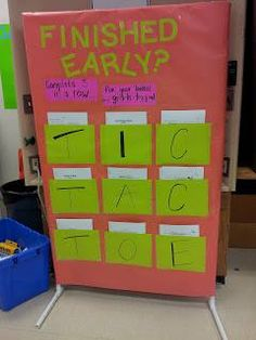 Early Finisher Board: If students finish assignments early they can go to the Tic Tac Toe board and do an assignment. (fun readings, math puzzles and cool writing prompts). Three in a row and the student gets to drop their lowest daily grade. From the teacher blog http://mrscs6thgradelife.blogspot.com/ — with Evelyn Hamlett.