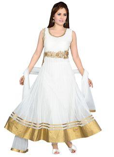 White Net Embellished Anarkali Suit