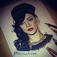 Drawing, rihanna's drawing, celebrity drawing, art, celebrity art, rihanna art