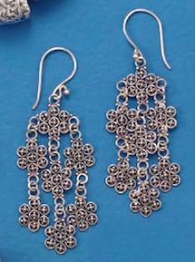 Bali Flower Design Earrings.  $70.99 #earrings #bali #sterling #silver #jewelry    http://www.silvermessages.com/sterlingsilverjewelry/category/bali-jewelry.html
