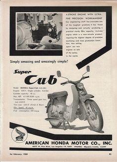 Honda Cub: Honda Super Cup CA 100 (49 ccm),  4.5 PS, Topspeed 45 mph.