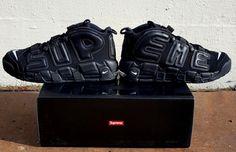 Nike x Supreme Air More Uptempo Triple Black - Air 23 - Air Jordan Release Dates, Foamposite, Air Max, and New Sneakers, All Black Sneakers, Sneakers Nike, Nba Uniforms, Nike Air Uptempo, Nike Free Runners, Sneaker Magazine, Jordan 13, Jordan Shoes