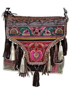 pretty embroided tribal purse with tassels