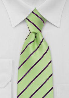 Mens Necktie in Mint Green and Purple