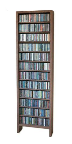 Volle CD-kast voor 600 cd's, geheel van massief hout gemaakt, in vele kleuren, ook maatwerk Cd Storage Furniture, Dvd Storage, Vinyl Storage, Media Storage, Record Storage, Wood Furniture, Brick Shelves, Shelving, Coin Tv