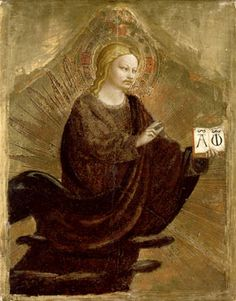 Blessing Redeemer, c.1423, Fra Angelico; God holds a holy book with the Greek letters Alpha and Omega, signifying the beginning and the end. (The National Gallery, London, on loan from Her Majesty the Queen, © Her Majesty the Queen)