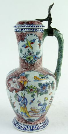 Antique Dutch Polychrome Delft Pottery Jug Hinged Pewter Cover Chinoiserie | eBay